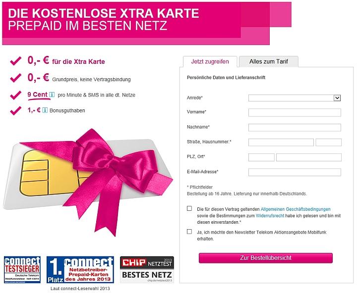 Telekom Xtra Card Freikarte